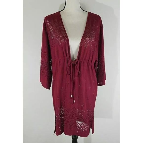 bac83b7075 Dotti Wine Gypsy Dance Laser Cut Kimono Coverup